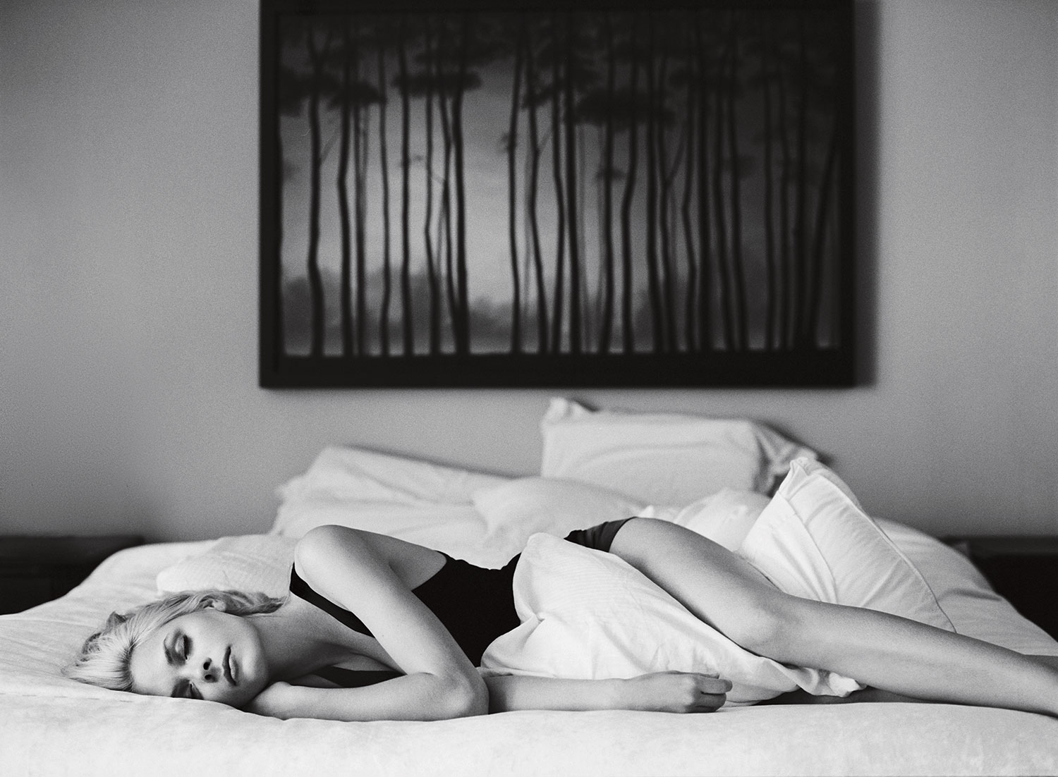 Jaime King sleeping in bed by Abbey Drucker black and white lifestyle lingerie portrait Los Angeles