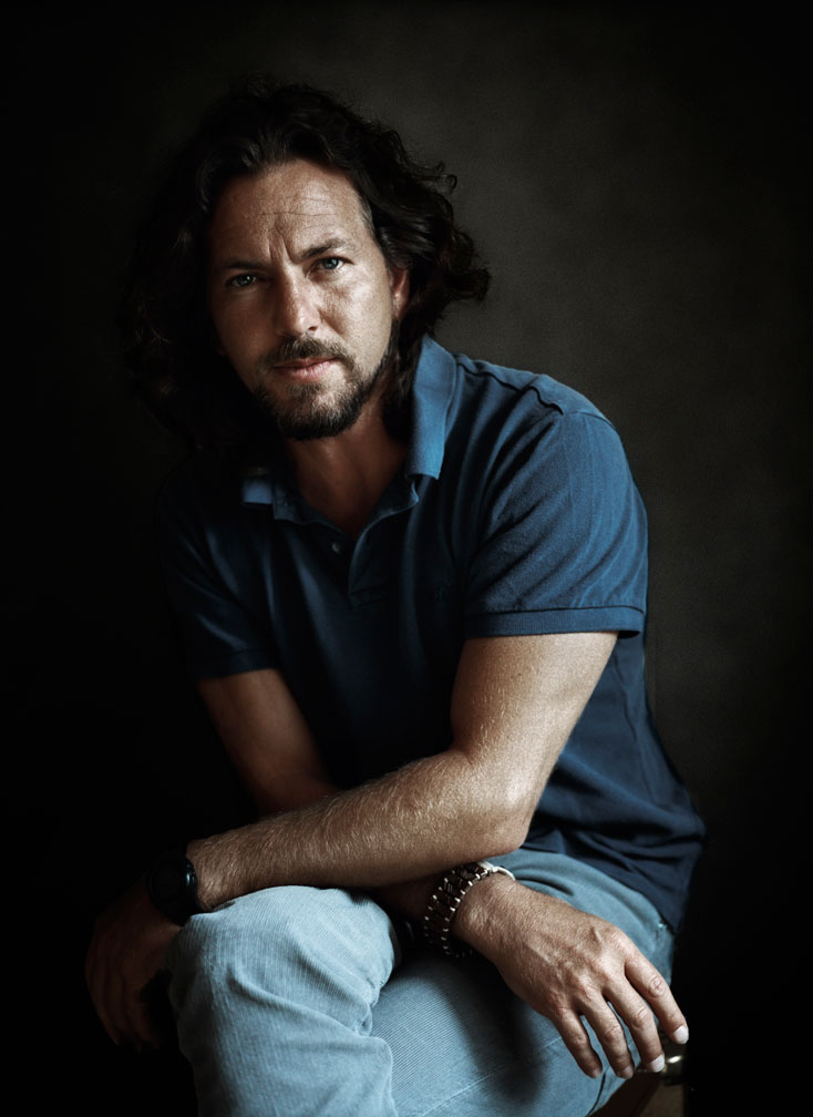 Eddie Vedder of Pearl Jam in blue polo shirt by Abbey Drucker